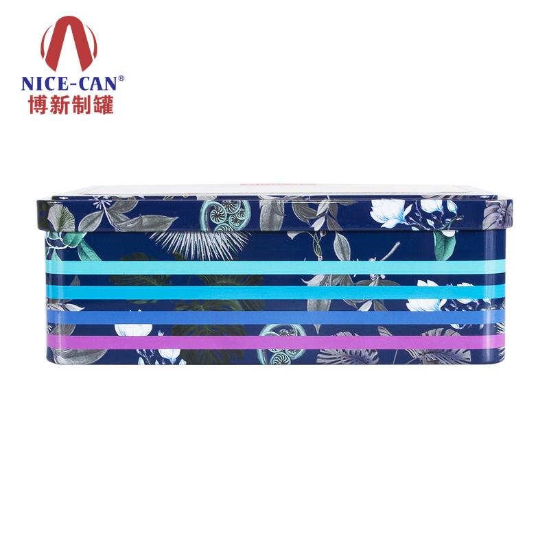 长方形马口铁盒|果仁铁盒|马口铁食品盒 NC2111-021(蓝花)