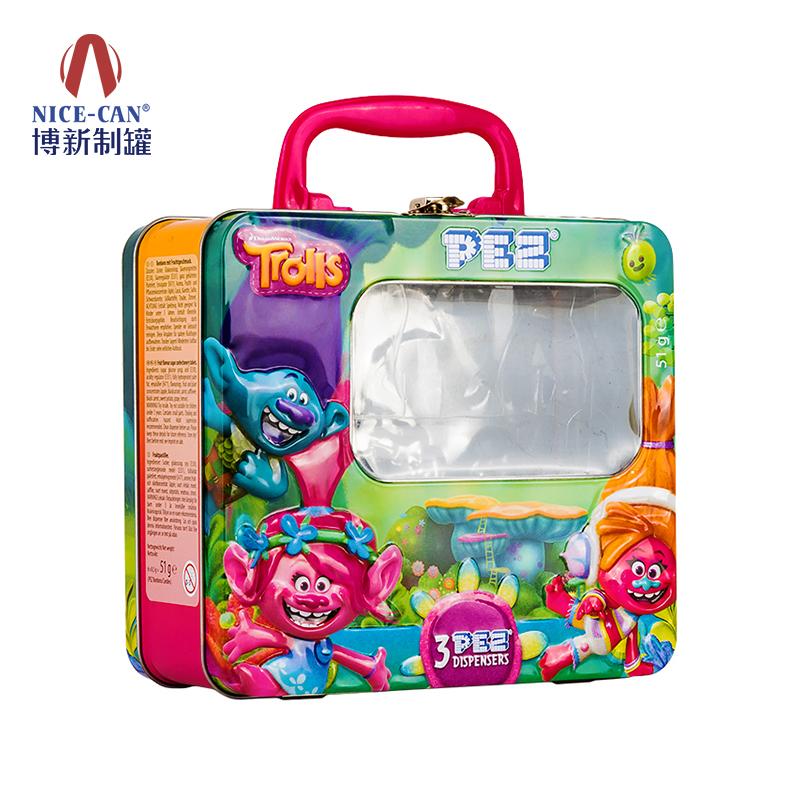 手提式午餐盒|带锁扣开窗午餐盒|儿童马口铁午餐盒 NC3017-012